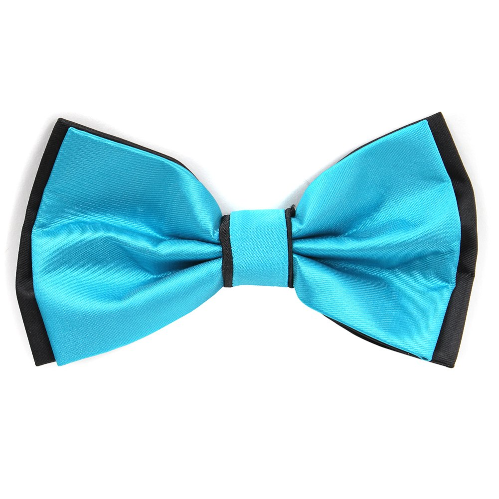 Brand Q Mens Deluxe High Contrast 2-Color Bow Tie with 2 Hankies Turquiose with Black Trim