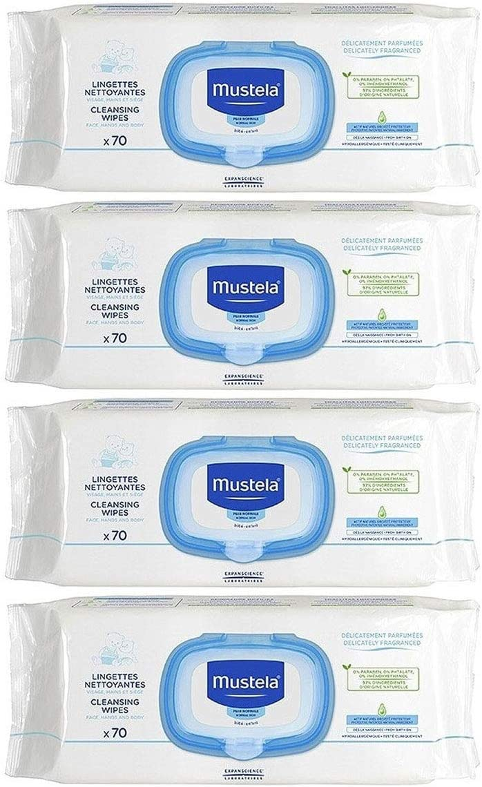 Mustela Baby Wipes - 4 Packs by EXPANSCIENCE: Amazon.es: Salud y ...