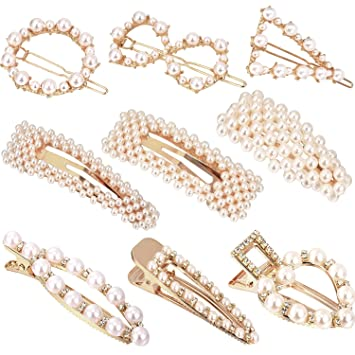 0406c05ef Amazon.com : 9 Pieces Artificial Pearl Hair Pins Hair Barrettes Decorative  Bridal Hair Clips Handmade Hair Accessories for Women (Style Set 1) : Beauty