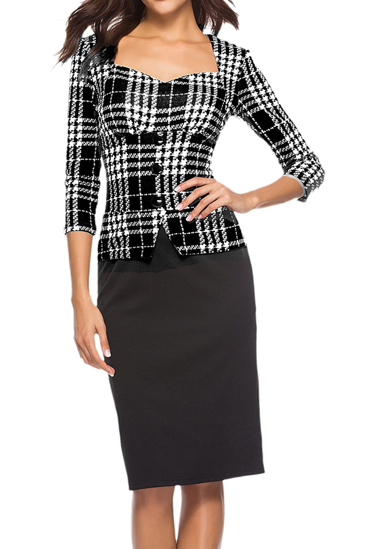 Vepodrau Women Fake 2 Piece Button Patchwork Plaid Midi Pencil Dress Black M