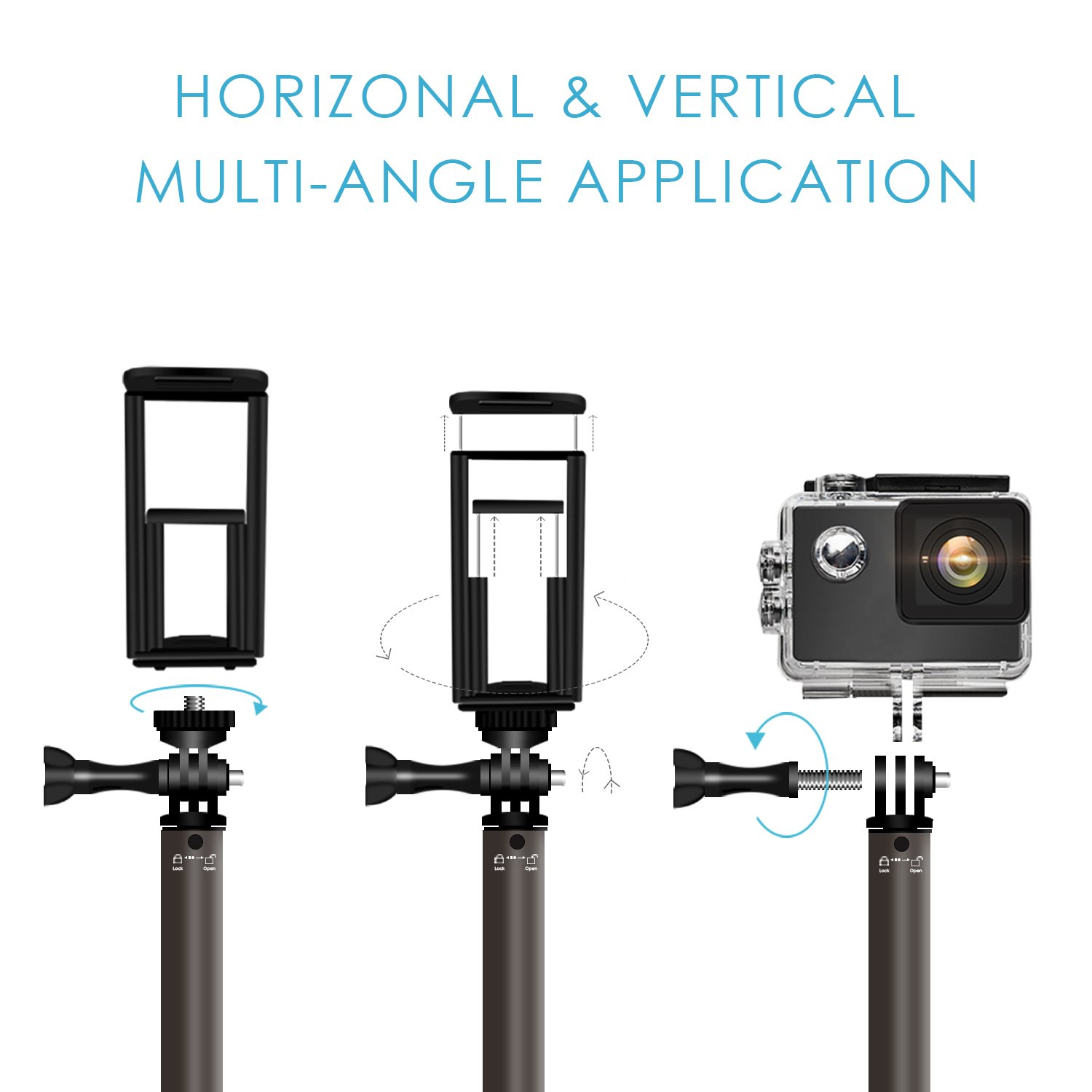 Bluetooth Selfie Stick with Tripod, Remote 59Inch MFW Extendable Monopod with Tripod Stand for iPhone X/8/7/6/Plus,Tablet,Samsung S7/S8,Android,GoPro Cameras by MFW (Image #5)