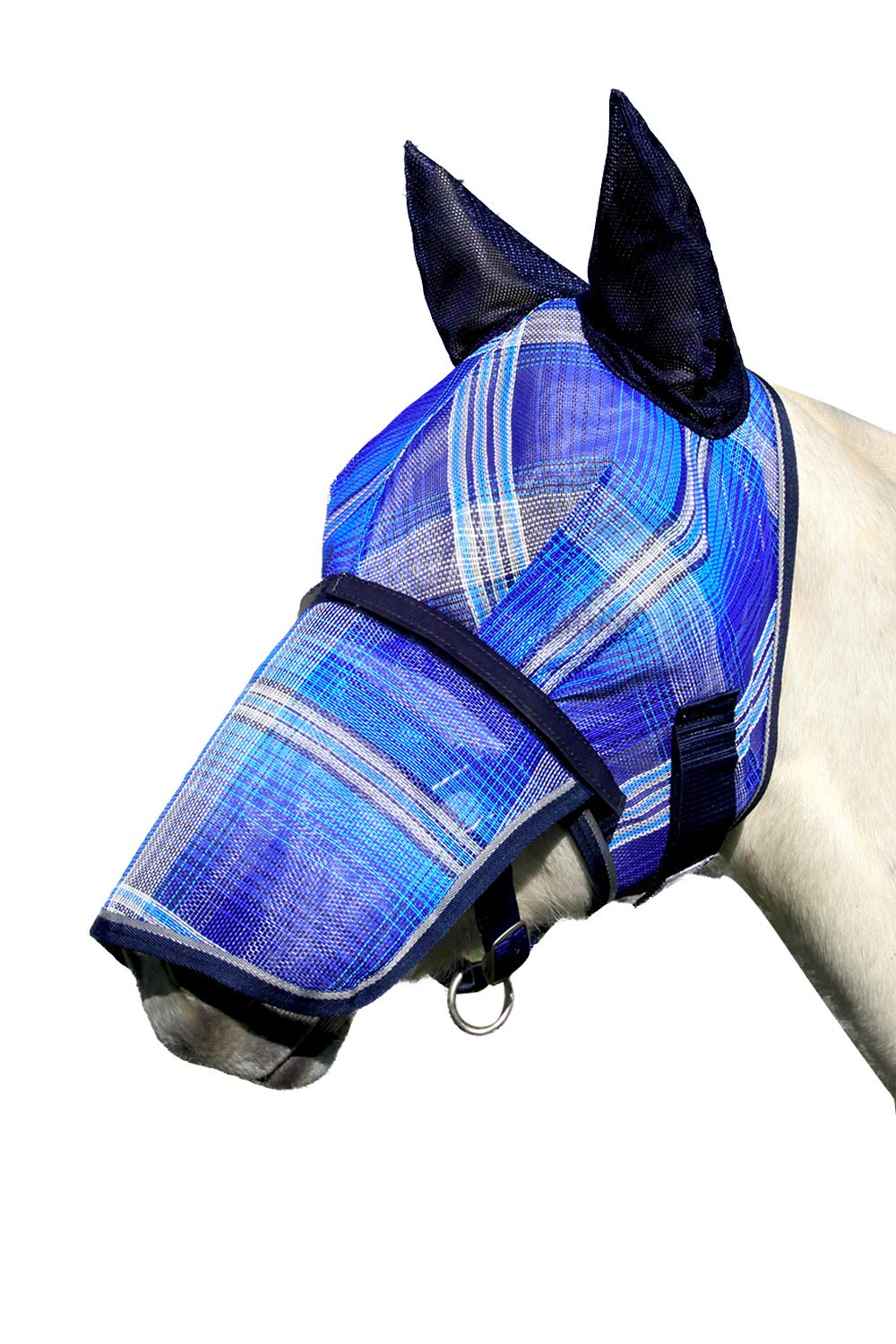 Kensington Signature Fly Mask with Removable Nose and Soft Mesh Ears - Protects Horses Face, Nose and Ears from Biting Insects and UV Rays While Allowing Full Visibility (XXL, Kentucky Blue)