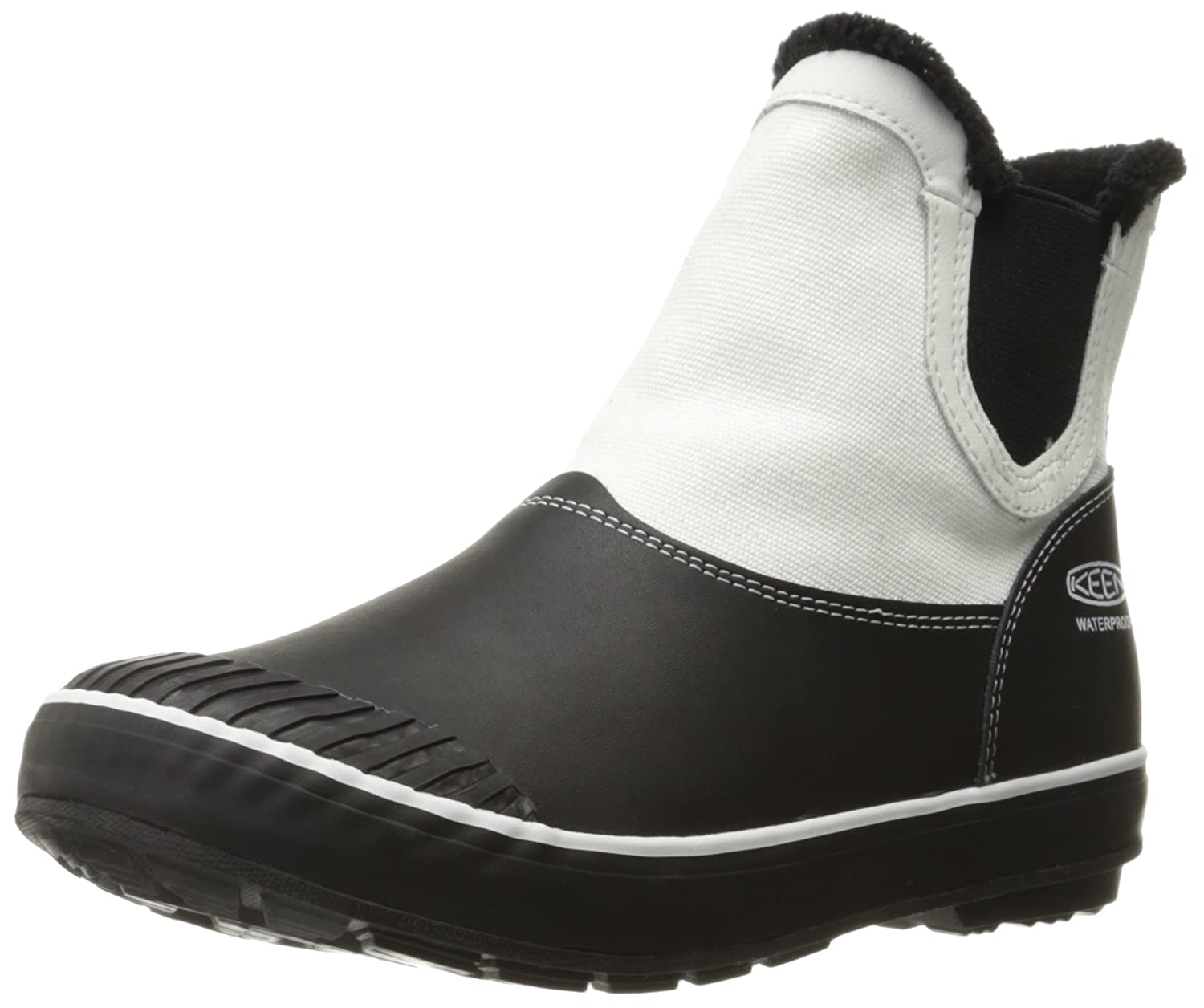 KEEN Women's Elsa Chelsea Waterproof Boot B019FC4JPK 6 B(M) US|Star White/Black