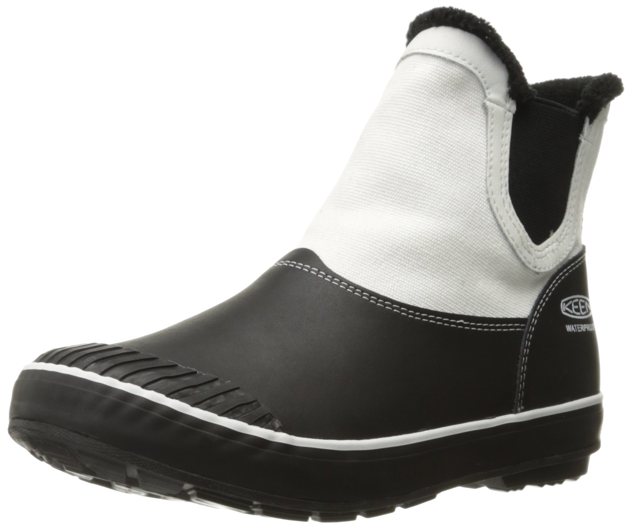 KEEN Women's Elsa Chelsea Waterproof Boot, Star White/Black/Chocolate/Bronze, 7.5 M US
