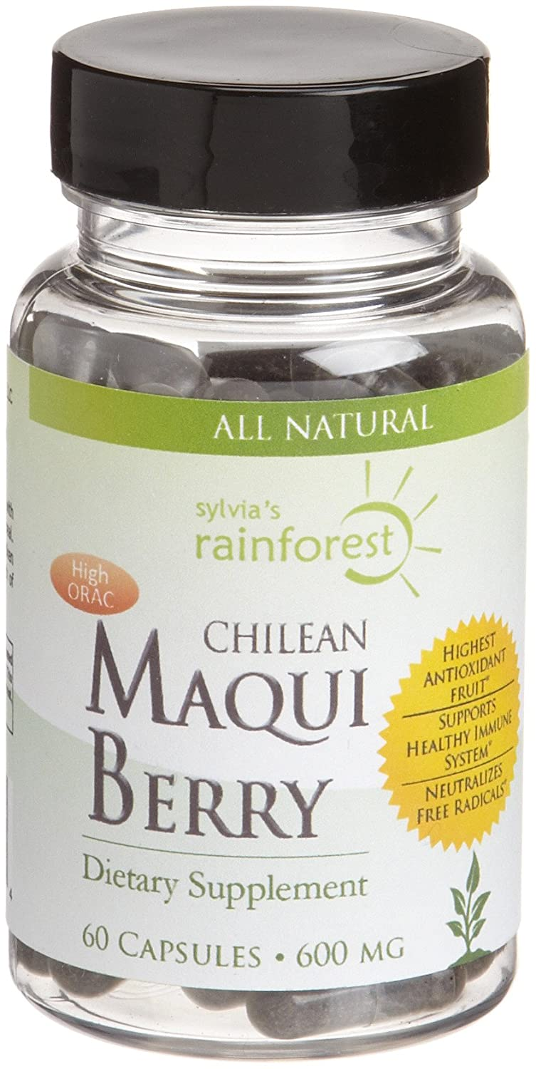 Amazon.com: Sylvias Rainforest Remedies Chilean Maqui Berry (600 mg), 60-Count Capsules: Health & Personal Care