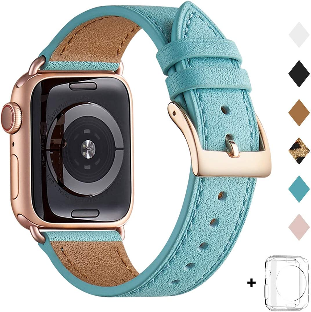 Bestig Band Compatible for Apple Watch 38mm 40mm 42mm 44mm, Genuine Leather Replacement Strap for iWatch Series 6 SE 5 4 3 2 1, Sports & Edition (Tiffany Blue Band+Rose Gold Adapter, 38mm 40mm)