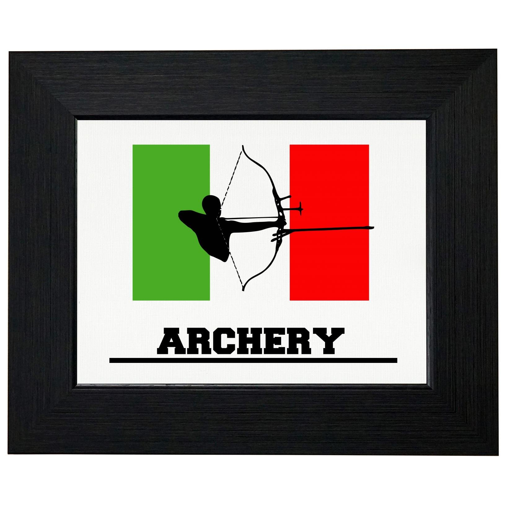 Italy Olympic - Archery - Flag - Silhouette Framed Print Poster Wall or Desk Mount Options