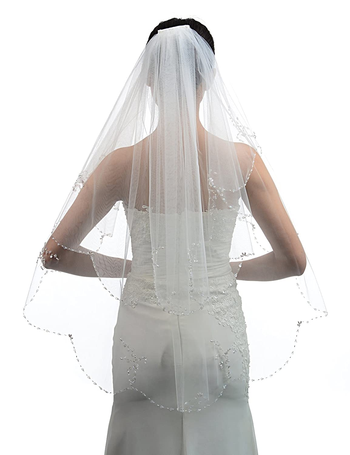 SWEETV 2 Tiers Sequin Pearl Trim Edge Wedding Veil Elbow Length Beaded Bridal Veil - Ivory -: Amazon.co.uk: Clothing