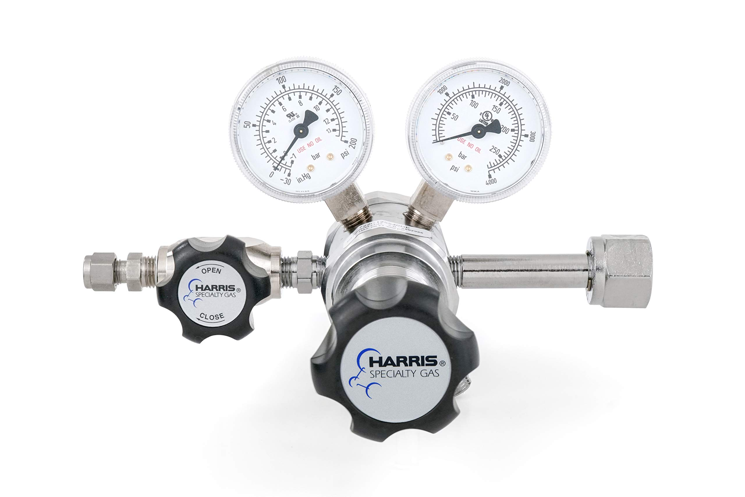 Oxygen specialty gas lab regulator, CGA 540, 2-stage, chrome-plated 0-125 PSI