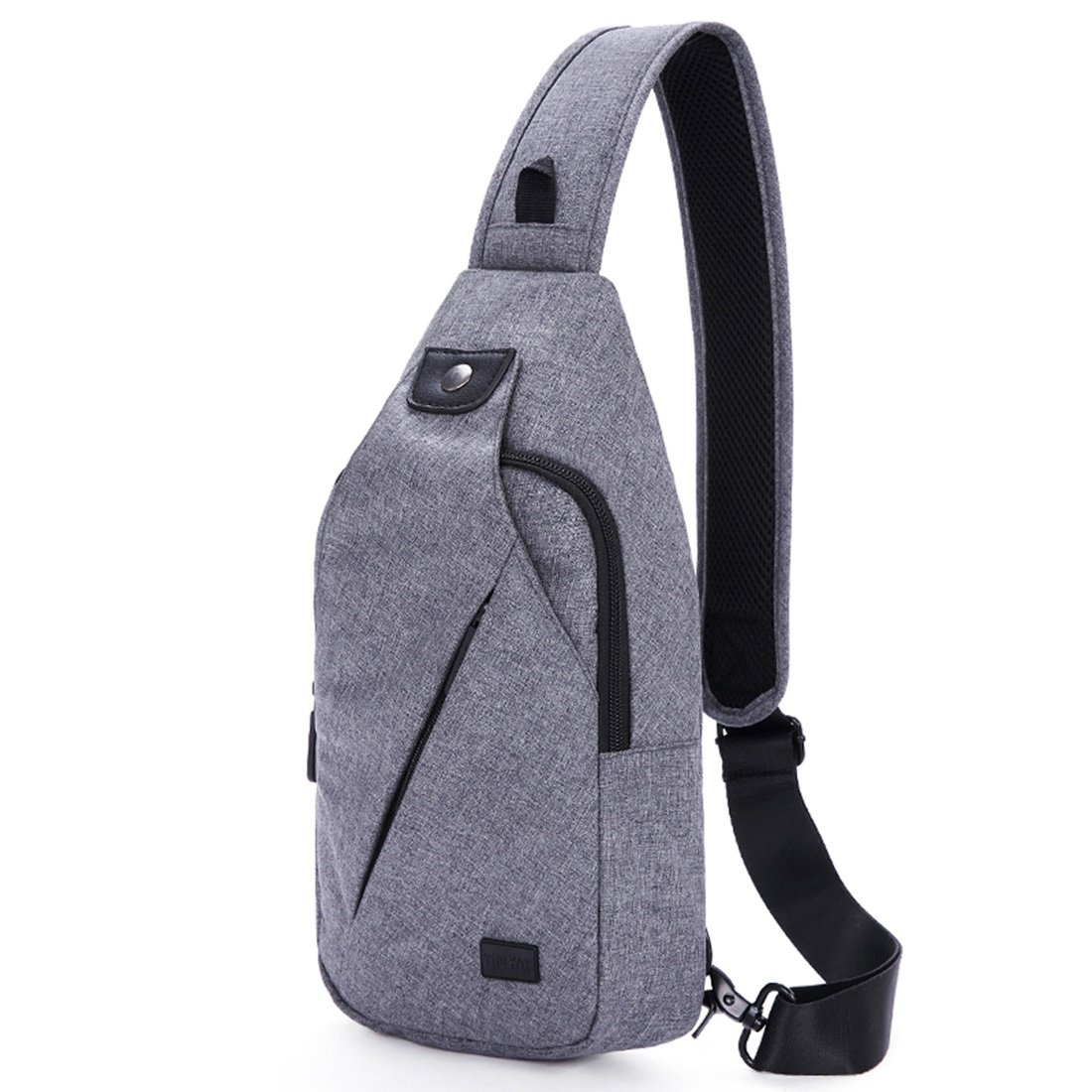 RABILTY Male Chest Bag Leisure Shoulder Canvas Backpack Outdoor Tourism Sports Messenger Color : Gray
