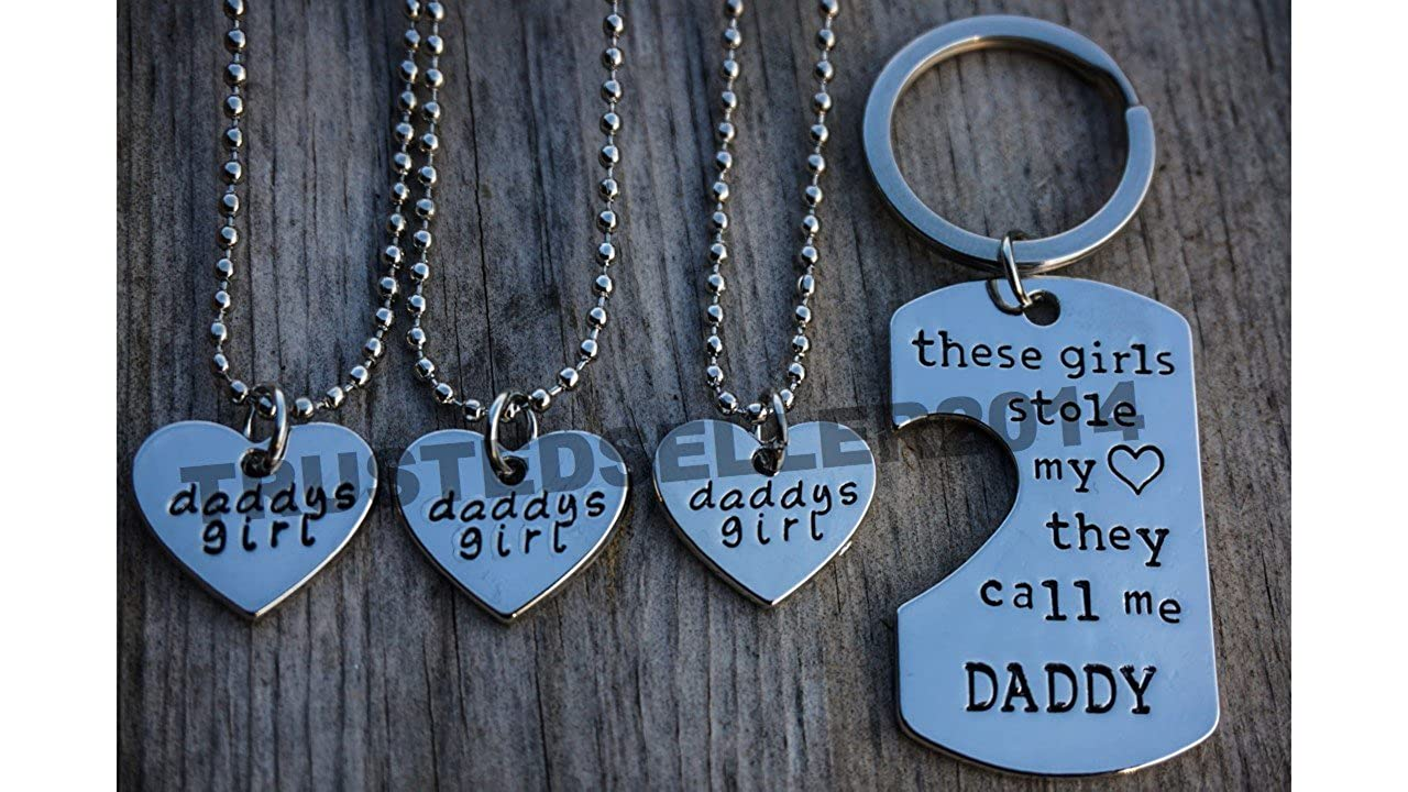 Amazon.com  4 piece Dad Daddy Daughter Stole My Heart these girls kids  Fathers Day Pendant Necklace keychain Set  Jewelry 01cff3cac5