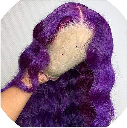 Peluca de cabello humano de color morado con encaje frontal ...