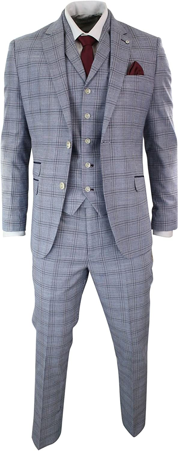 Mens 3 Piece Blue Grey Tailored Fit Complete Suit Classic Check Vintage Retro Style