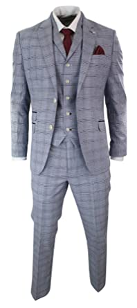 db398e54fe79 Mens 3 Piece Blue Grey Tailored Fit Complete Suit Classic Check Vintage  Retro Style