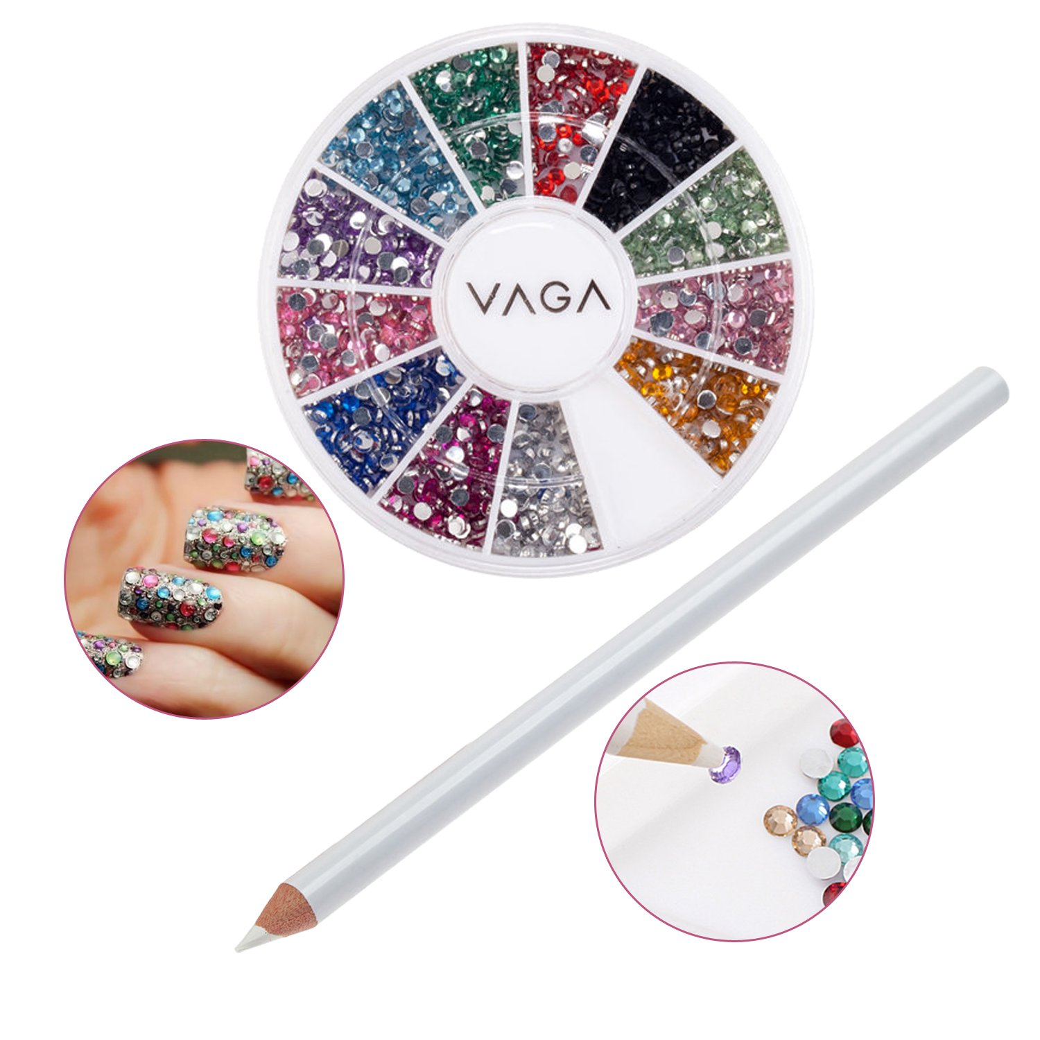 Professional High Quality Nail Art Accessories Set Including Wheel of Crystals / Gemstones In 12 Different Colours And White Wax Rhinestones Picker Pencil / Decorations Application Tool By VAGA