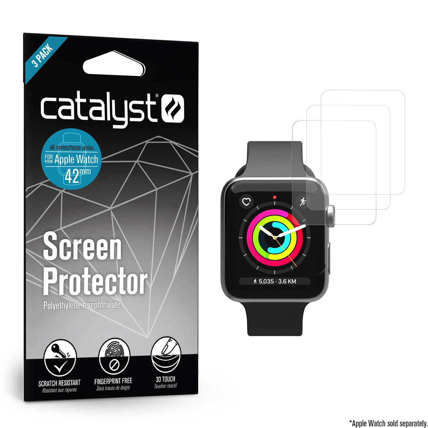 Apple Watch Screen Protector - 42mm Screen Protector for Series 3, Series 2 & Series 1 [3 Packs] Full Coverage Protective Film [Ultra Clear & Thin, Anti-Scratch iWatch Protection] by Catalyst