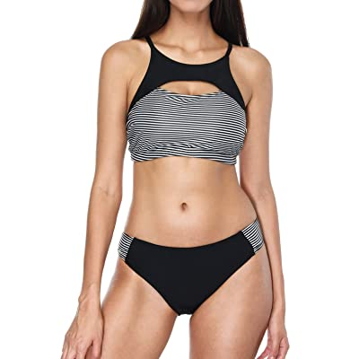 ATTRACO Women's Bikinis Sets Twist Two Piece Bathing Suits Solid Swimsuit
