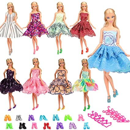cf620058b69 Amazon.com  BARWA 5 PCS Fashion Mini Short Party Dresses Doll Clothes 5  Shoes 5 Hanger Compatible with 11.5 inch Dolls  Toys   Games