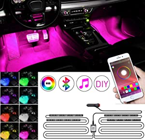 RGB Car Ambient Light Interior, KFZMAN 4PC LED Strip Light Kit Automative with Timer, APP Remote, Sync with Music, Strobe Model, Under Dash Lighting Kits with Cigarette Lighter Switch, DC12V