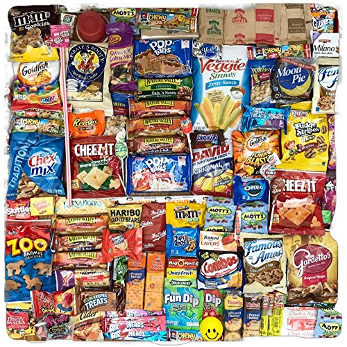 Sweet & Salty Ultimate 100 Count Care Package Snack Pack Boxed Variety Assortment Selection Cookies, Candy, Chips, Gum, Great for College, Military, Office, Thank you Gift Box by SmallTown Table