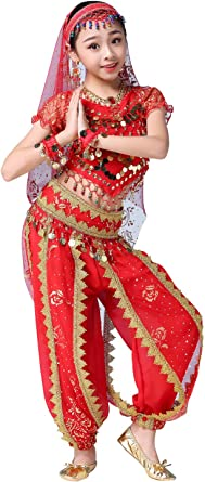 Children Girl Kid Belly Dance Top/&Pants Outfit Indian Bollywood Costume Suit Set