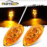 Partsam 1PC Clear//Amber Front Fender Mounted Side Marker Turn Light Park Lamp Assembly Sealed Replacement for Kenworth T680 T770 T880 and Peterbilt 576 Trucks Led Rectangular Cab Panel Lights LH//RH