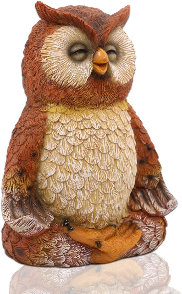 LIMEIDE Meditating Zen Yoga Owl Figurine Garden Statue- Indoor/Outdoor Garden Owl Sculpture for Home, Garden, Patio, Deck, Porch Yard Art or Lawn Decoration, 8