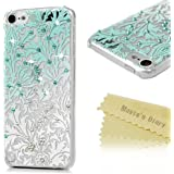 ipod 5 Case, ipod Touch 5th Generation Case - Mavis's Diary 3D Handmade Bling Crystal Shiny Rhinestone Diaonds Special Hollow Floral Gradient Pattern Clear Case Hard PC Cover