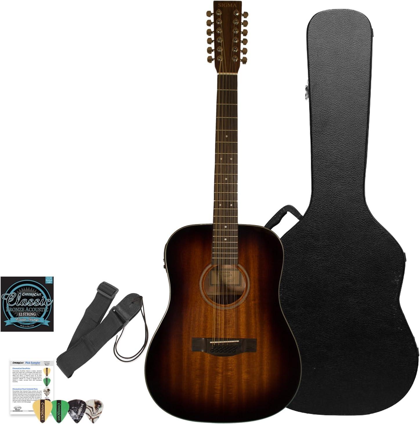 Sigma guitarras guitarra electroacústica de 12 con ChromaCast duro ...