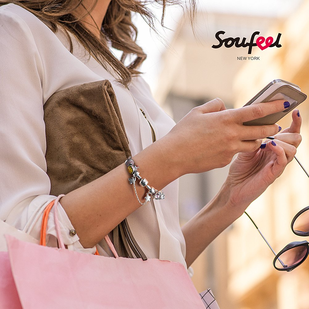 SOUFEEL ''Happy Birthday'' Bracelet 925 Sterling Silver Charm Bracelets 9.1 Inch With Safety Chain Birthday Gift by SOUFEEL (Image #5)