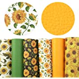 "David Angie Sunflowers Printed Faux Leather Sheet Litchi PU Synthetic Leather Sheet Assorted 6 Pcs 7.9"" x 13.4"" (20 cm x…"