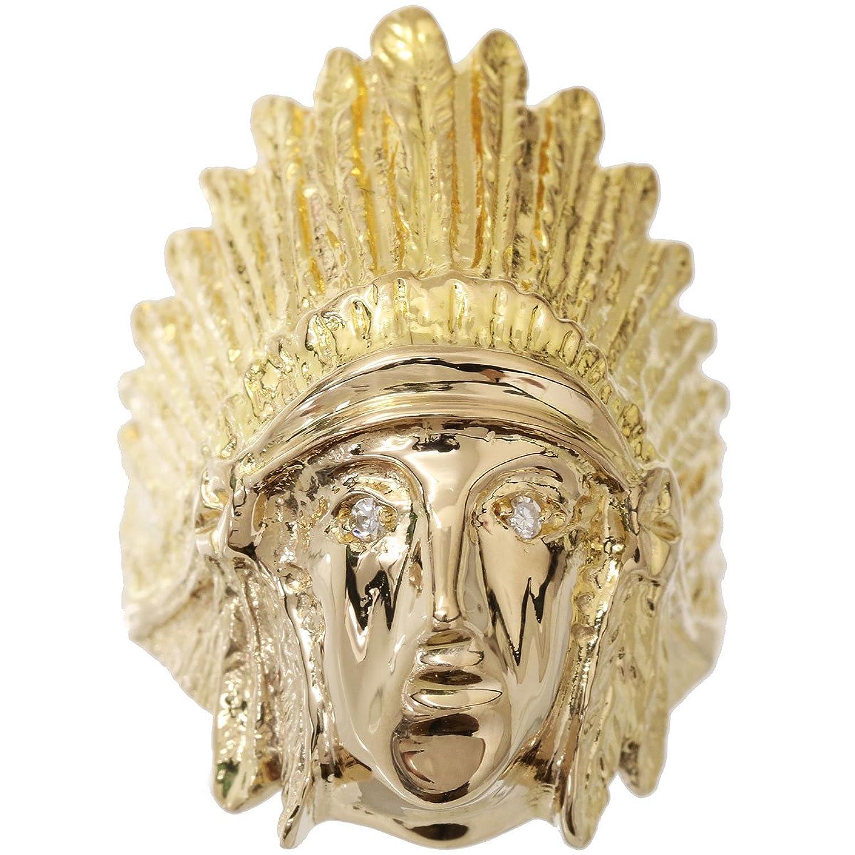 ダイヤ インディアンモチーフ K18 リング 15号 18金イエローゴールド ダイア 指輪 【中古】 90048111 B07CSSY1W7