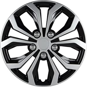 Pilot Automotive WH553-16S-BS Universal Fit Spyder Wheel Cover [Set of 4] - 16 in. ABS Hub Cap with 10 Spokes, Black/Silver Finish. Car Accessories