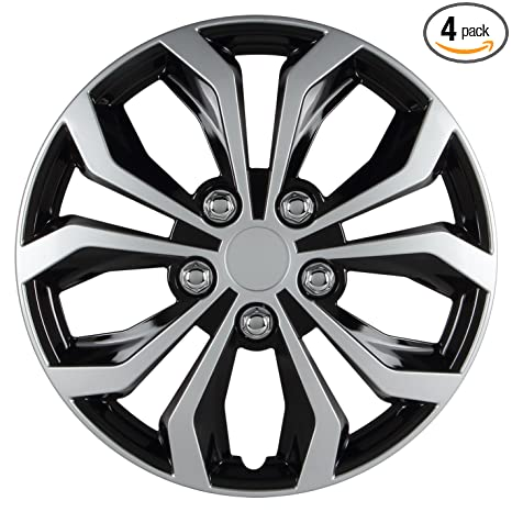 Amazon.com: Pilot WH553-16S-BS Universal Fit Spyder Black/Silver Finish 16 Inch Wheel Covers - Set of 4: Automotive