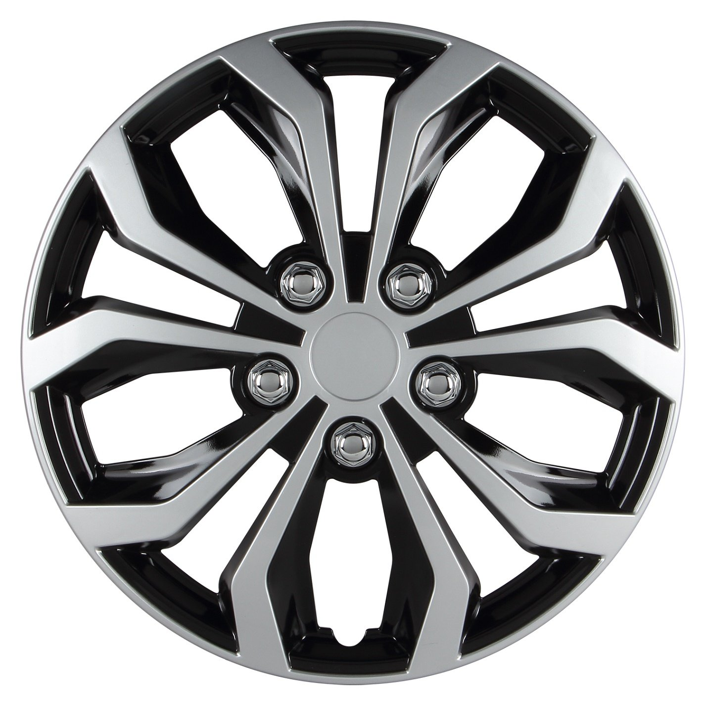 Pilot WH553-16S-BS Universal Fit Spyder Black/Silver Finish 16 Inch Wheel Covers - Set of 4 by Pilot Automotive (Image #1)