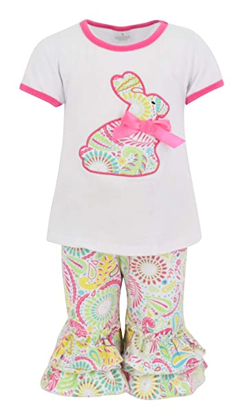 48ac8fb74b999 Amazon.com: Unique Baby Girls Paisley Easter Bunny Easter Outfit ...