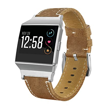 Watch Bands for Fitbit Ionic, MoreToys Leather Sports Replacement Accessories Wristband Strap for Fitbit Ionic Smartwatch