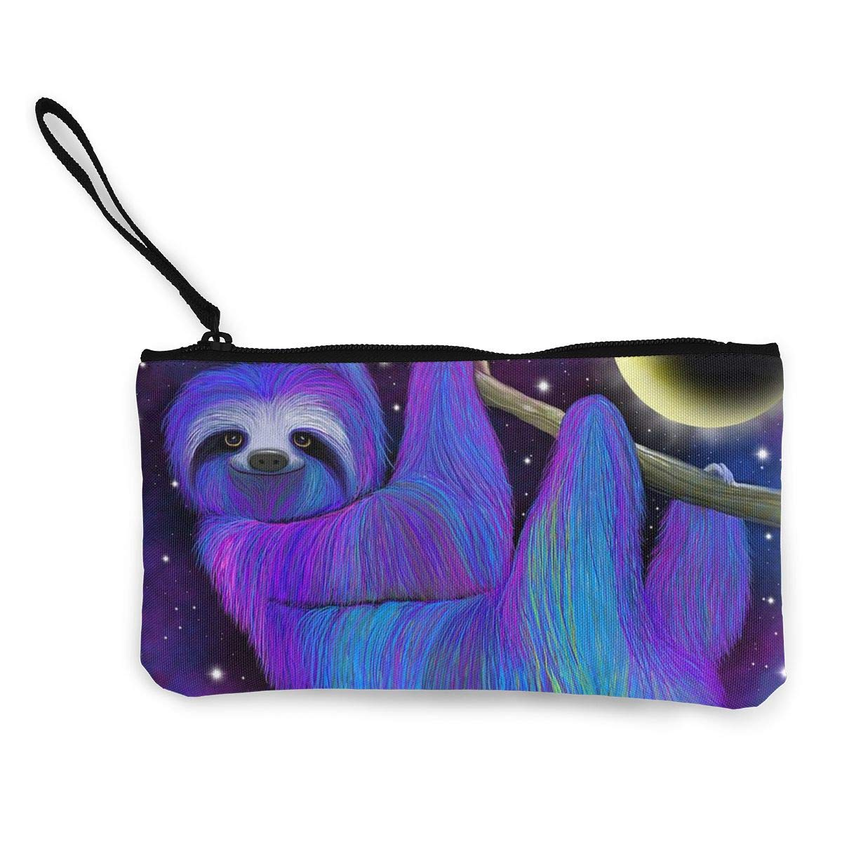 Cellphone Bag With Handle Make Up Bag DH14hjsdDEE Sloth Moonlight Zipper Canvas Coin Purse Wallet