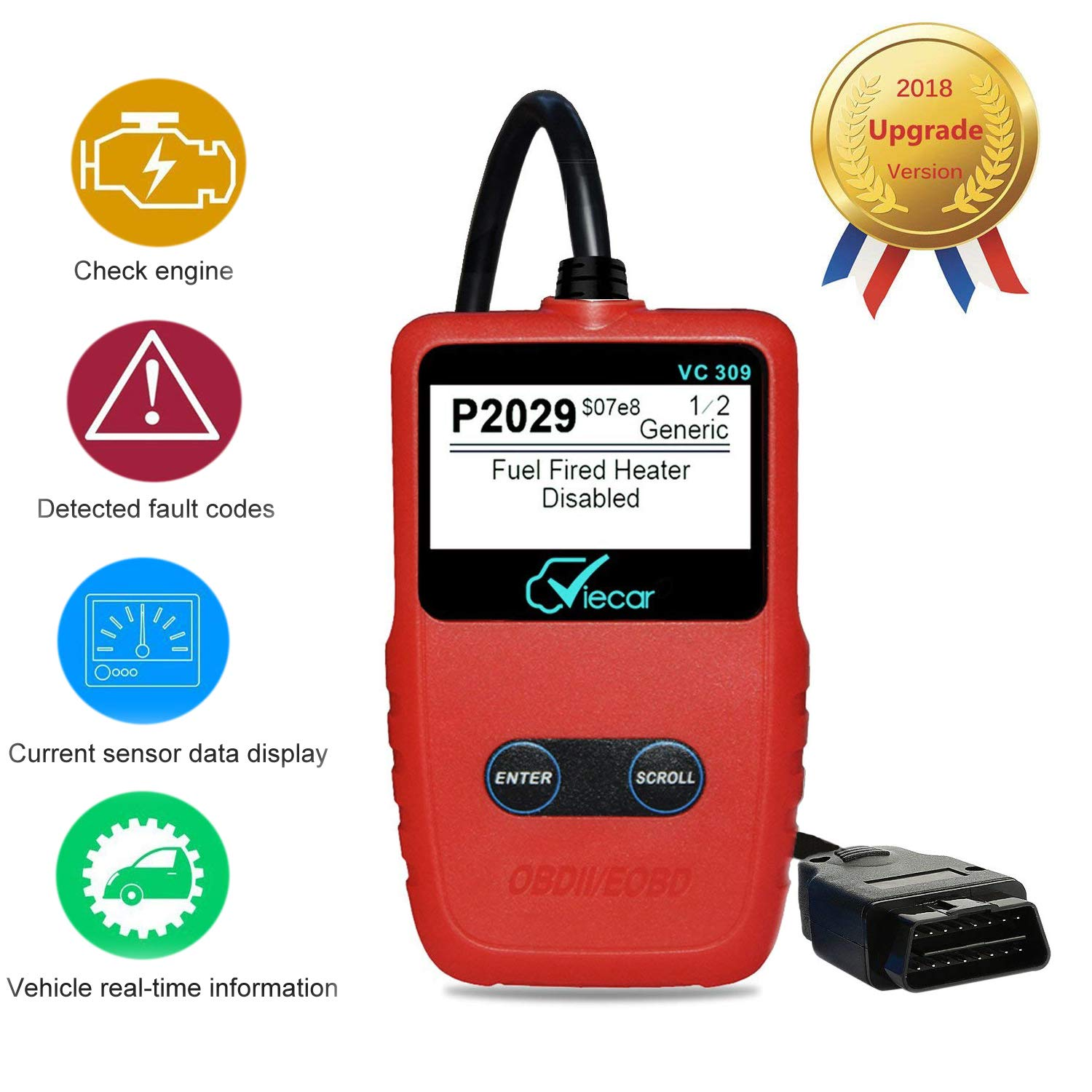 OBDII Code Scanner, OBD 2 Car Code Reader,LITOON Universal Automotive Vehicle Diagnostic Scan Tool For Check Engine Light Diagnostics,Support Read and Clear Error Codes