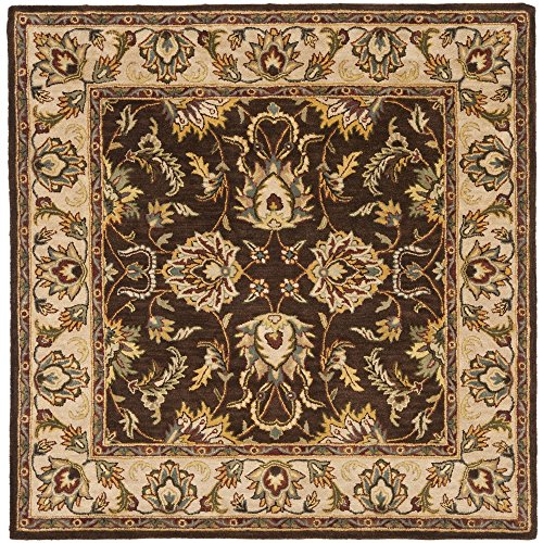 Safavieh Heritage Collection HG912A Handcrafted Traditional Oriental Brown and Ivory Wool Square Area Rug (8' Square)