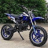 xxbao Mini Dirt Bike, 49cc Dirt Bike, Children's Bicycle, Gasoline-Powered 2-Stroke 49cc Motorcycle. (Blue)