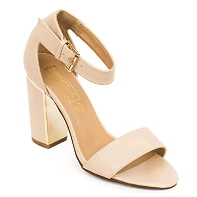 c34e0522a TRUFFLE COLLECTION Nude Block Ankle Strap Heel Sandal: Buy Online at Low  Prices in India - Amazon.in