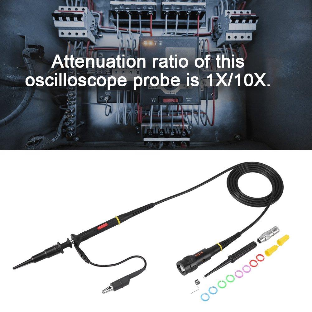 200MHz Oscilloscope Test Probe,1pc 200Mhz Oscilloscope Scope Test Probe Clip BNC P2200 X10//X1 Black