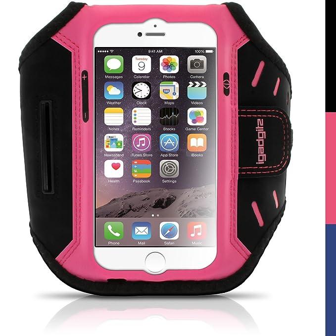 igadgitz Pink Wasserabweisend Leichtes Neopren Sports Jogging Armband Laufen Fitness Oberarmtasche für Apple iPhone 6 & 6S 4.