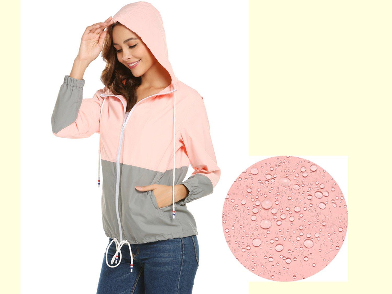 ZHENWEI Women's Lightweight Raincoat Zip up Casual Hoodie Rain Jacket Pink L by ZHENWEI (Image #2)