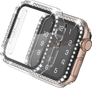 adepoy Apple Watch Case 38mm Series 3/2/1 with Screen Protector Full Cover Crystal Diamond Apple Watch Protective Case Shock-Proof Resist Bumper Case Cover for Women Girl New Gen iWatch (Clear)