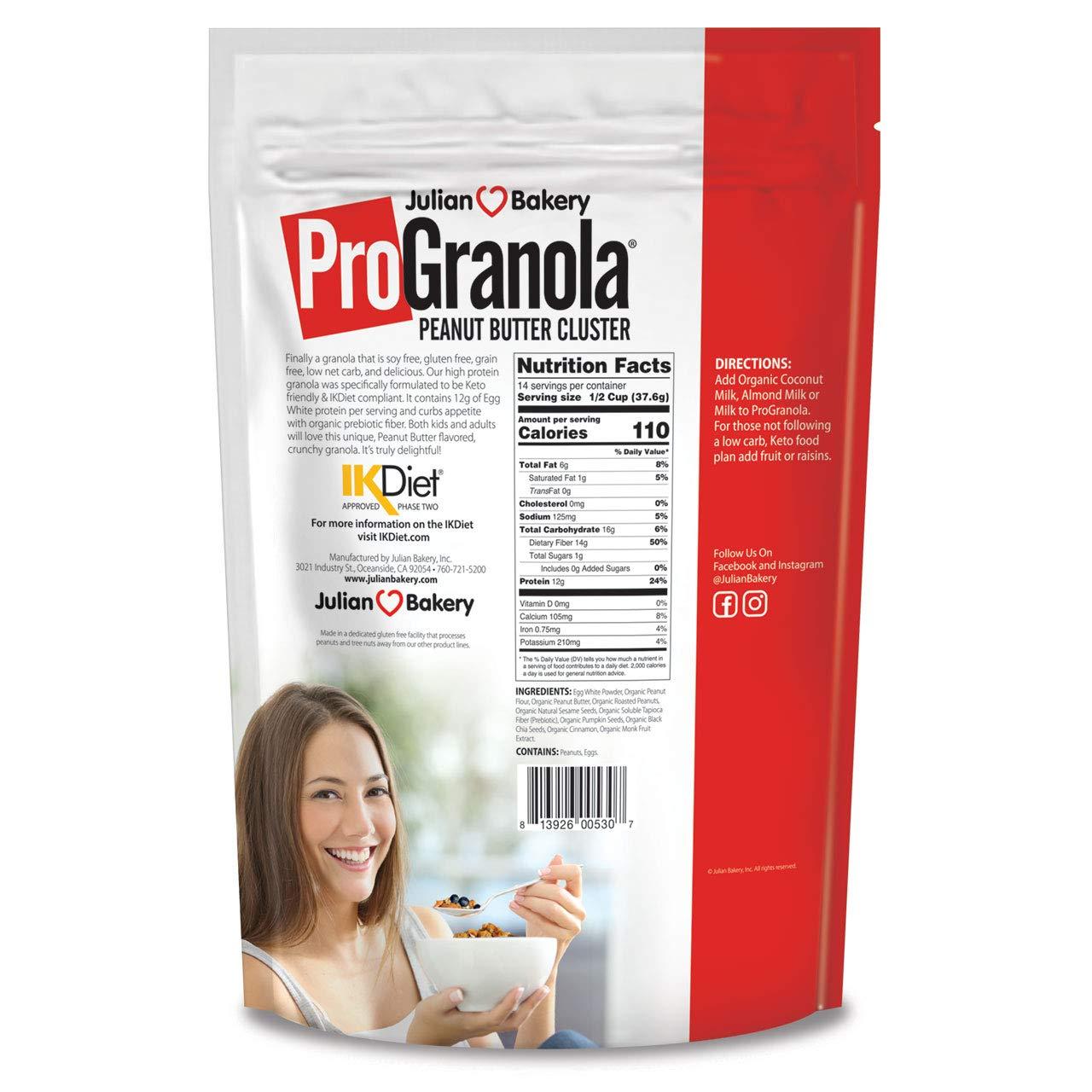 ProGranola® 12g Protein : Peanut Butter Cluster : (Low Net Carb : Gluten-Free : Grain-Free)(3 Pack) (42 Servings) by Julian Bakery (Image #2)