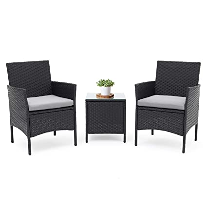 Pleasant Lahaina Patio Furniture Set 3 Piece Outdoor Wicker Bistro Set Rattan Chair Conversation Sets With Coffee Table Black Home Interior And Landscaping Staixmapetitesourisinfo