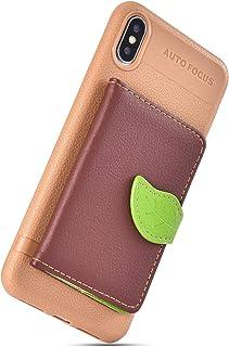 Herbests Compatible avec iPhone XS Max Coque en Cuir Housse Etui de Protection Multi-Fonction Arrière Coque à Rabat Magnétique Flip Case avec Motif Ultra Mince Coque avec Porte-Cartes,Brown
