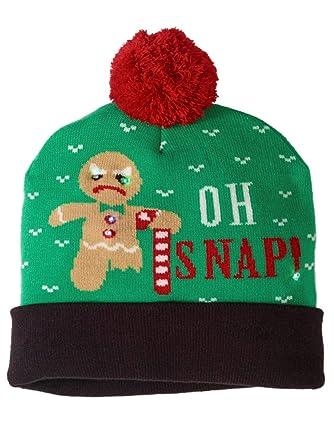 c16a7c23cc6 Amazon.com  Mens Oh Snap Christmas Holiday Stocking Cap Light Up ...